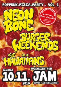 10.11.2018: Burger Weekends, Neon Bone, The Hawaiians