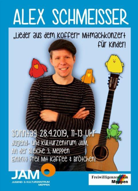 """28.4.2019: Alex Schmeisser """"Lieder aus dem Koffer!"""""""