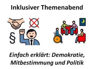 """25.4.2019: Inklusiver Themenabend """"Einfach erklärt: Demokratie, Mitbestimmung und Politik"""""""