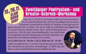15./16.11.2019: Zweitägiger Poetry-Slam/Kreativ-Schreib-Workshop