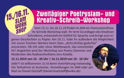 15./16.11.2019: Zweitägiger Poetry-Slam/Kreativ-Schreib-Workshop
